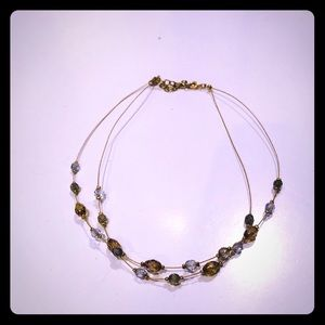 Crystal, amber and gold necklace